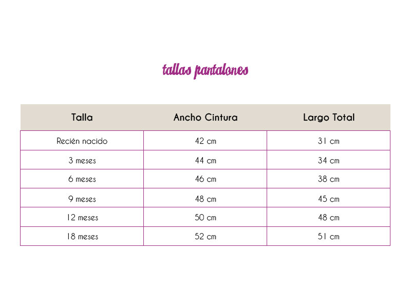 Tallas Pantalones Pinchorela
